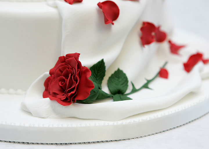 Red Rose & Drape Wedding Cake, Hand Made Sugar Crafted Flower & Sugar Drape