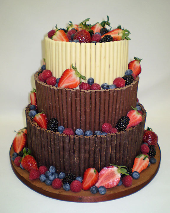 Luxury 3 Chocolate and Fruit Wedding Cake, 3 tier stacked