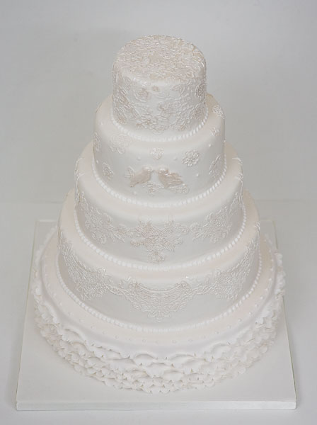 Five Tier White Lace with Ruffles Wedding Cake