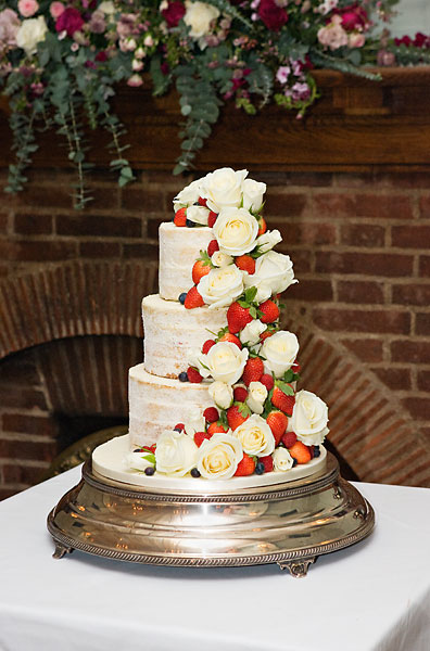 Naked Wedding Cake with White Roses & Summer Berries