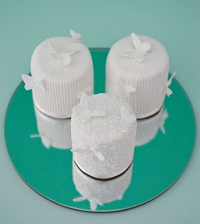 White Elegance Individual Wedding Cakes, White Stripe Butterflies, White Cornelli Wedding Cakes